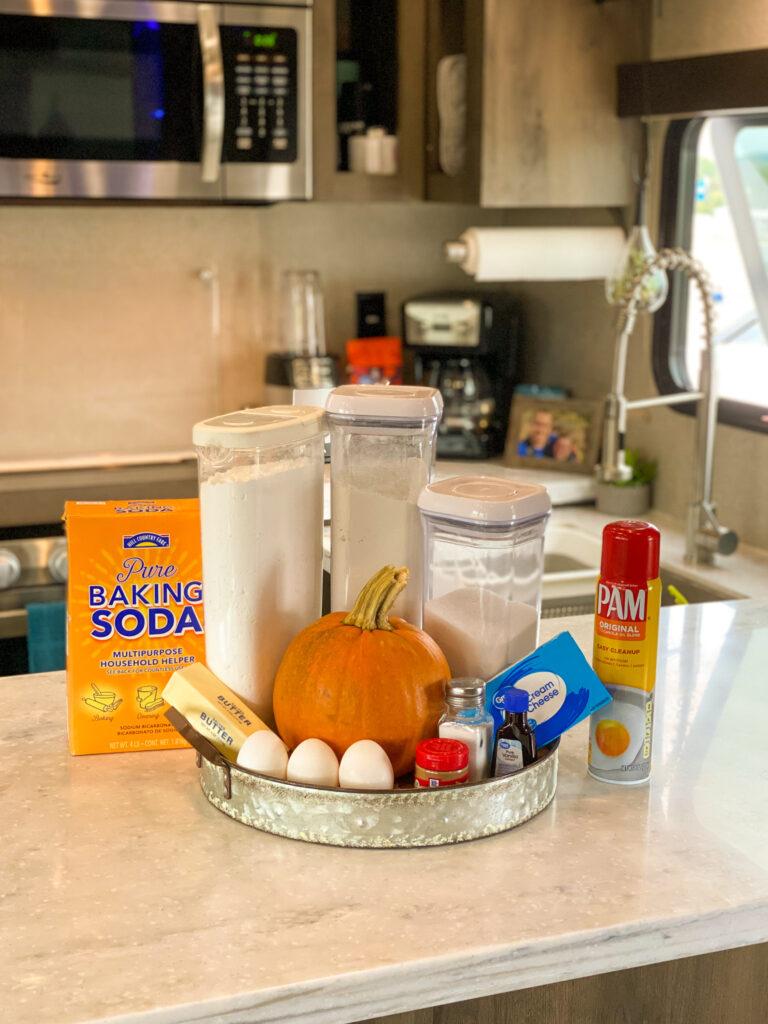 Pumpkin Cheesecake Roll ingredients on kitchen counter