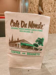 Cafe Du Monde bag on table