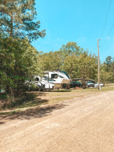 fifth wheel parked on family property