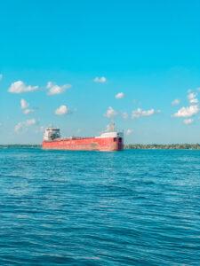 Ship on St. Clair River Michigan