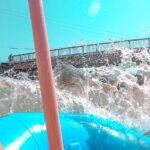White water rafting water splashing