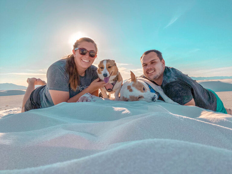laying in the sand at white sand dunes national park
