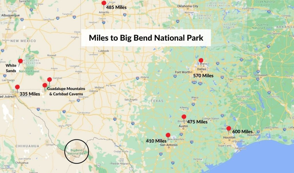 Map of cities near big bend