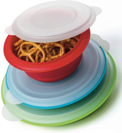 set of collapsible bowls with lids