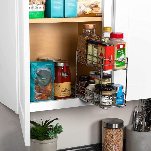 Spice rack pulled out of cabinet