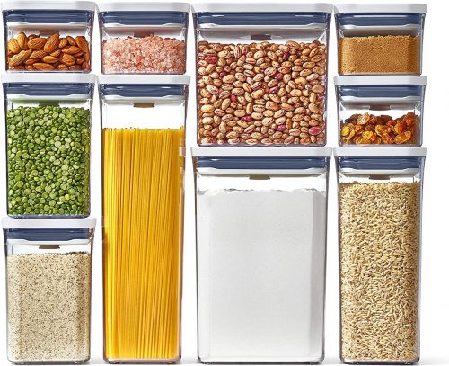 Air tight containers filled with a variety of dry goods