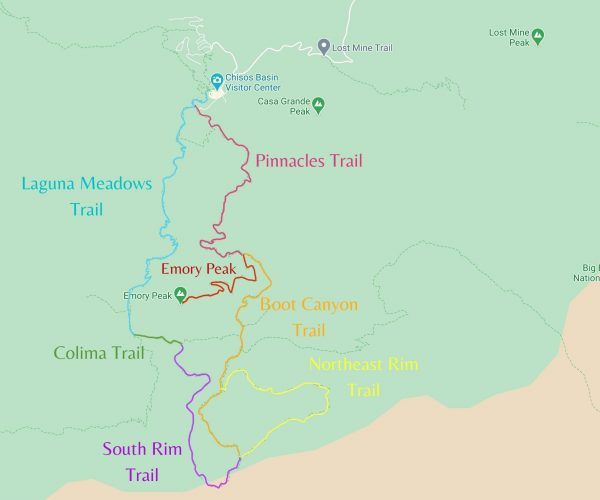 Map detailing the south rim hike in big bend national park