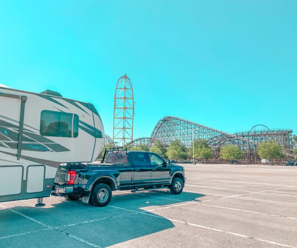 RV in oversized vehicle parking at amusement park