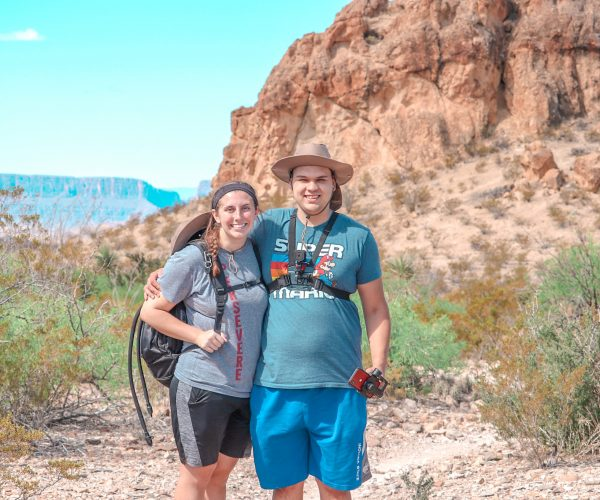 Philip and Megan in front of the Chimneys Big Bend