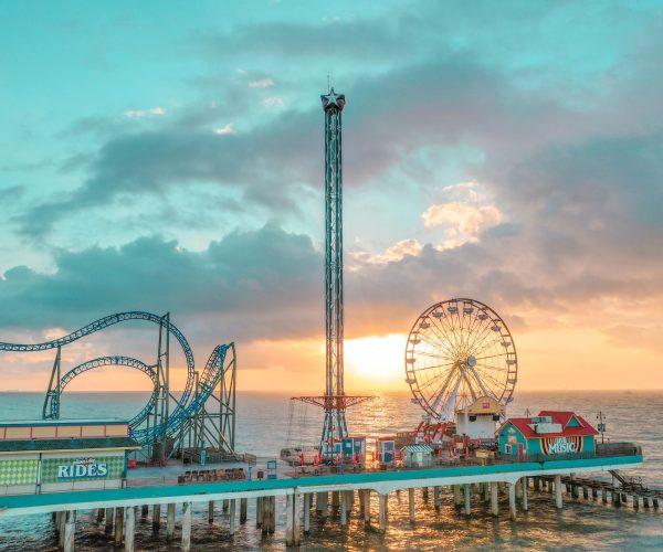 Galveston, TX Pleasure Pier at Sunrise