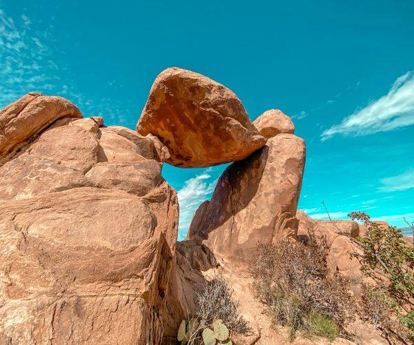 Balanced rock from behind