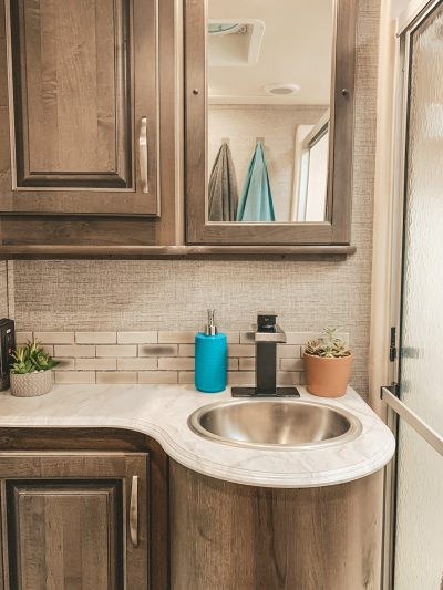 RV bathroom counter with plants