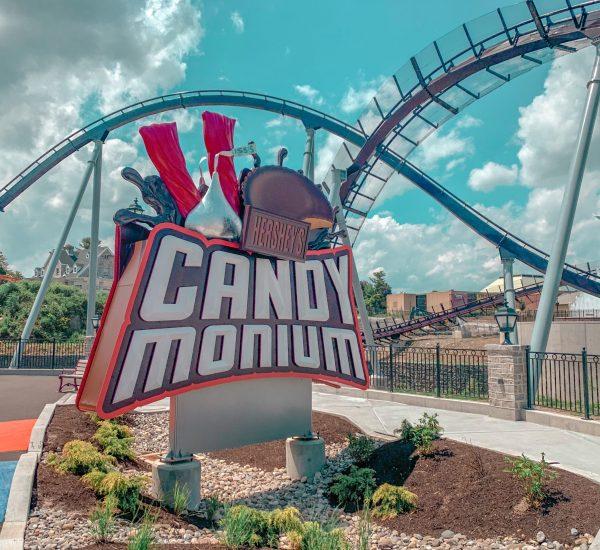 Candy Monium roller coaster sign
