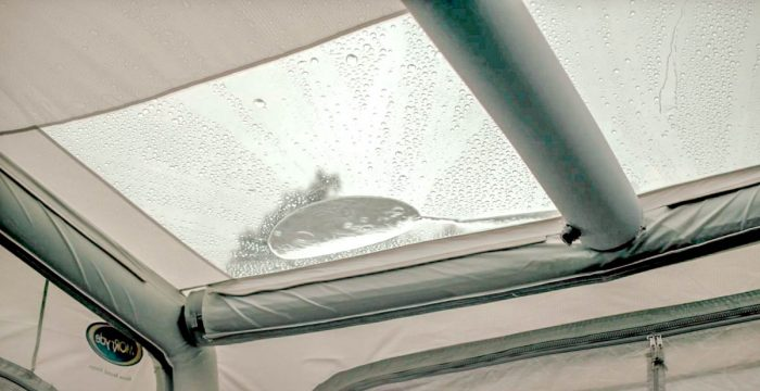 Water pooling on ceiling of tent