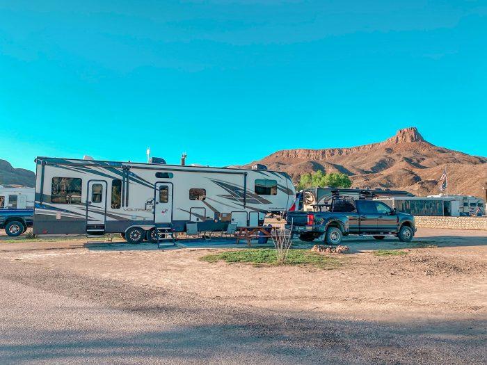 Maverick Ranch RV Park site 79 with Lajitas Mesa in background