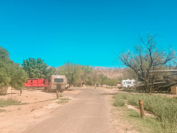 Rio Grande Village campground views. RV spots surrounded by trees and mountains.