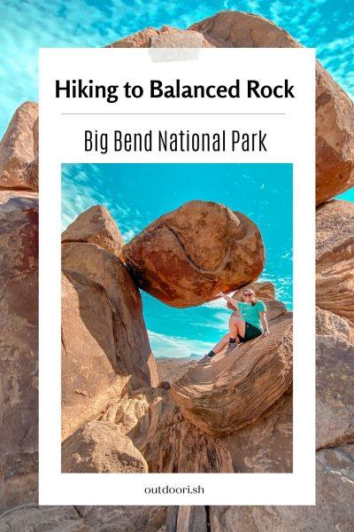 Hiking to balanced rock Pinterest pin